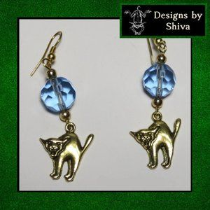 Golden  Cat Earrings with Blue Glass
